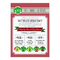 Modern Striped Ugly Sweater Holiday Party Card