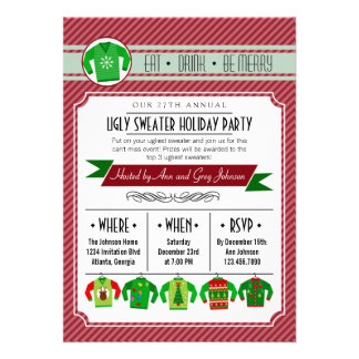 Modern Striped Ugly Sweater Holiday Party Personalized Invites