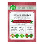 """Modern Striped Ugly Sweater Holiday Party 5"""" X 7"""" Invitation Card"""