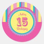 Modern Stripes 15 Birthday Quinceañera Sticker
