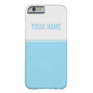 Modern Stripes Aqua Blue Custom Name Barely There iPhone 6 Case