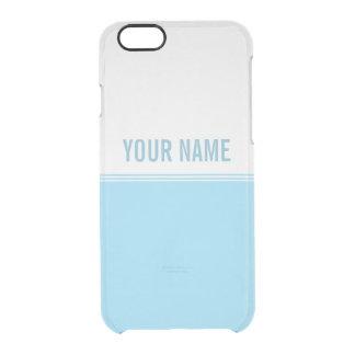 Modern Stripes Aqua Blue Custom Name Clear iPhone 6/6S Case