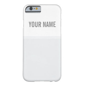 Modern Stripes Ash White Custom Name Barely There iPhone 6 Case