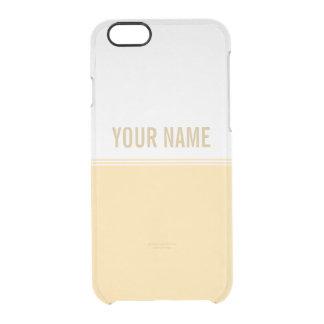 Modern Stripes Blonde Yellow Custom Name Clear iPhone 6/6S Case