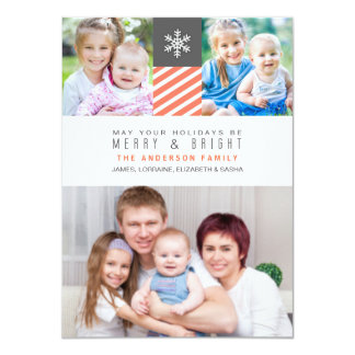 Modern Stripes Christmas Holiday Photo Flat Cards Personalized Invites