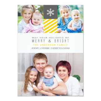 Modern Stripes Christmas Holiday Photo Flat Cards Personalized Invitations