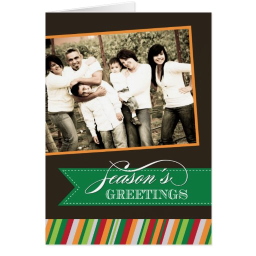 Modern Stripes Christmas Photo Greeting Card