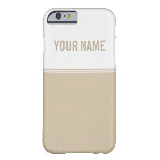 Modern Stripes Cream Ivory Custom Name Barely There iPhone 6 Case