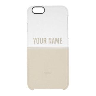 Modern Stripes Cream Ivory Custom Name Clear iPhone 6/6S Case