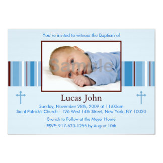 Modern Stripes Custom Baptism Invitations