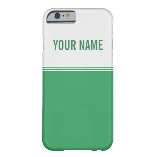 Modern Stripes Emerald Green Custom Name Barely There iPhone 6 Case