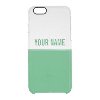 Modern Stripes Emerald Green Custom Name Clear iPhone 6/6S Case