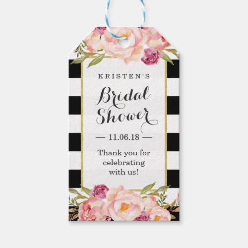 Modern Stripes Floral Decor Bridal Shower Favor Gift Tags