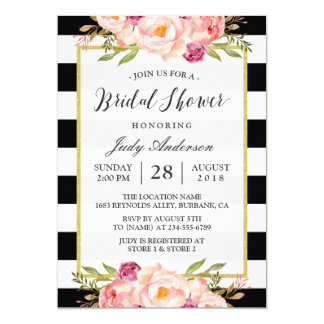 Modern Stripes Floral Decor Wedding Bridal Shower Card
