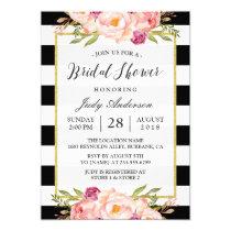 Modern Stripes Floral Decor Wedding Bridal Shower Invitation