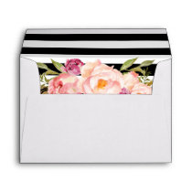 Modern Stripes Floral for 5x7 Invitation Card Envelope