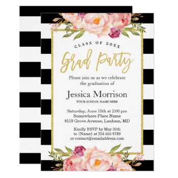 Modern Stripes Floral Gold Script Graduation Party Card by CardHunter at Zazzle