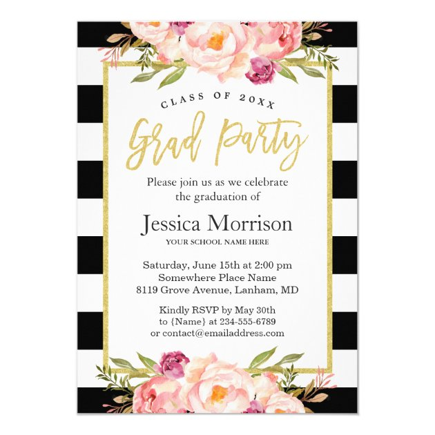 Modern Stripes Floral Gold Script Graduation Party Card (back side)