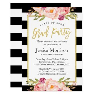 Modern Stripes Floral Gold Script Graduation Party Invitation