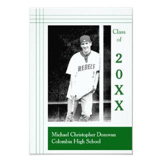 Modern Stripes Green - 3x5 Graduation Announcement