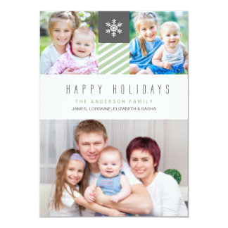 Modern Stripes Happy Holidays Photo Flat Cards