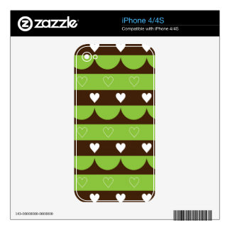 Modern stripes hearts wave pattern iPhone 4 decal