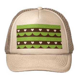 Modern stripes hearts wave pattern trucker hat