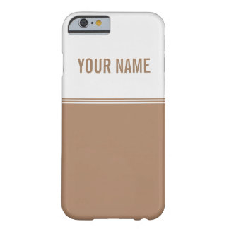 Modern Stripes Mocha Brown Custom Name Barely There iPhone 6 Case