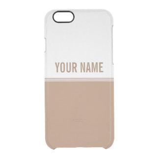 Modern Stripes Mocha Brown Custom Name Clear iPhone 6/6S Case