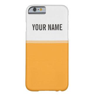 Modern Stripes Orange Gold Custom Name Barely There iPhone 6 Case