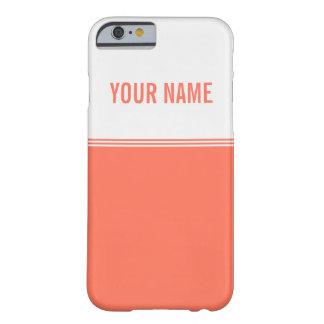 Modern Stripes Orange Salmon Custom Name Barely There iPhone 6 Case