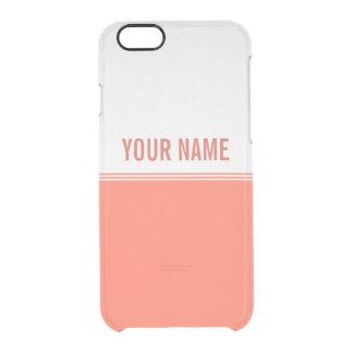 Modern Stripes Orange Salmon Custom Name Clear iPhone 6/6S Case