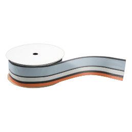 Modern Stripes Pattern Orange Grey Blue White Grosgrain Ribbon
