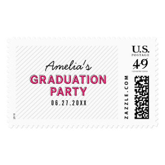 Modern Stripes Pink Graduation Party Postage