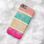 Modern Stripes Pink Red Watercolor Gold Glitter Barely There iPhone 6 Case