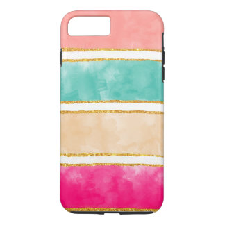 Modern Stripes Pink Red Watercolor Gold Glitter iPhone 8 Plus/7 Plus Case