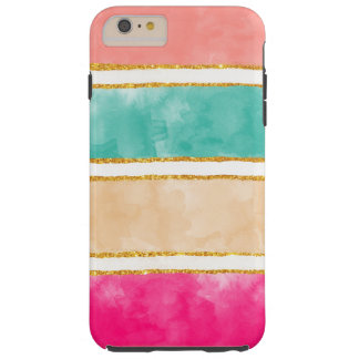 Modern Stripes Pink Red Watercolor Gold Glitter Tough iPhone 6 Plus Case