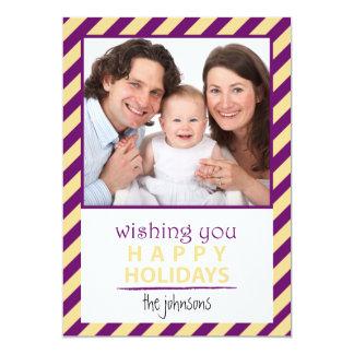 Modern Stripes Purple Yellow Happy Holidays Card