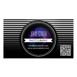 Modern Stripes QR Code Photography Business Card