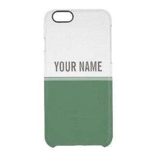 Modern Stripes Regal Green Custom Name Clear iPhone 6/6S Case