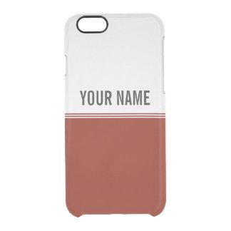 Modern Stripes Regal Red Custom Name Clear iPhone 6/6S Case