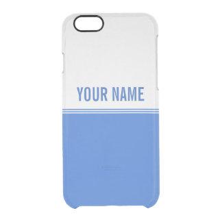 Modern Stripes Royal Blue Custom Name Clear iPhone 6/6S Case