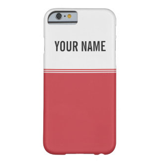 Modern Stripes Ruby Red Custom Name Barely There iPhone 6 Case