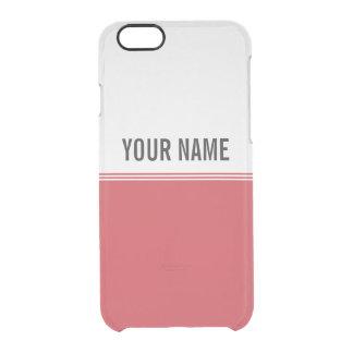 Modern Stripes Ruby Red Custom Name Clear iPhone 6/6S Case