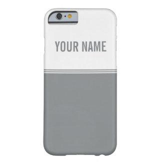 Modern Stripes Sleek Silver Custom Name Barely There iPhone 6 Case