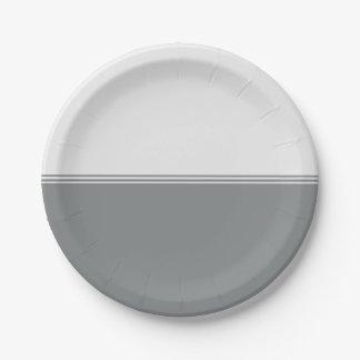 Modern Stripes Sleek Silver Custom Paper Plate