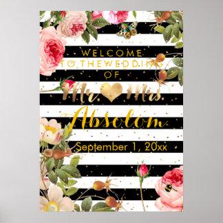 Modern Stripes/Vintage Roses/Gold Specks/Reception Poster