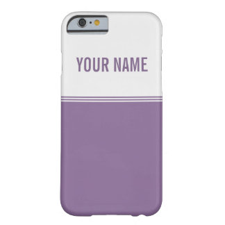 Modern Stripes Violet Purple Custom Name Barely There iPhone 6 Case