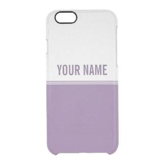 Modern Stripes Violet Purple Custom Name Clear iPhone 6/6S Case