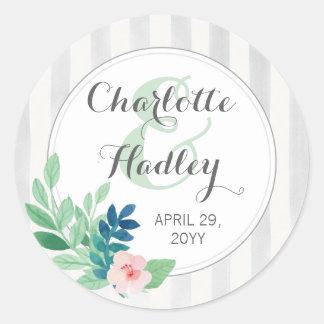 Modern Stripes Wedding Watercolor Bohemian Custom Classic Round Sticker